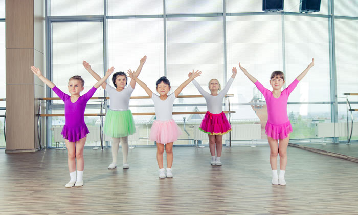 young girls taking dance lessons