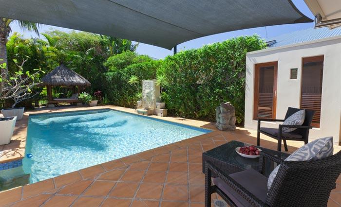 backyard pool for refreshing on hot days