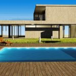 Contemporary home with square backyard pool