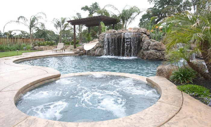 Natural waterfall swimming pool and bubbling effect